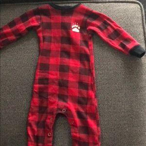 Other - Bear cheeks red flannel print pjs